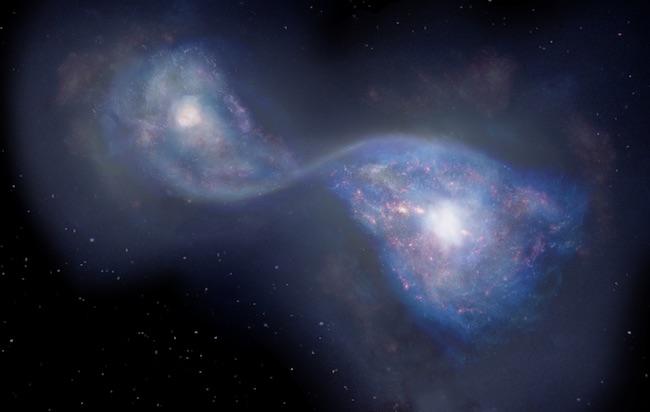 Ilustrasi penggabungan galaksi B14-65666 yang berada 13 miliar tahun cahaya. Kredit: National Astronomical Observatory of Japan.