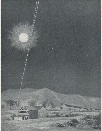 Foto pergeseran posisi bintang akibat pembelokan cahaya oleh matahari. Foto merupakan hasil gabungan dua foto berbeda yang diambil di Sobral saat Gerhana Matahari Total 29 mei 1919. Diterbitkan di London News 22 November 1919. Kredit: E.N.A / The Royal Observatory Greenwich
