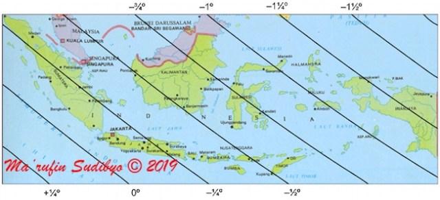 Gambar 3. peta tinggi Bulan di Indonesia pada 3 Juni 2019 TU waktu maghrib setempat berdasarkan sistem hisab kontemporer ELP 2000-82. Sumber: Sudibyo, 2019.
