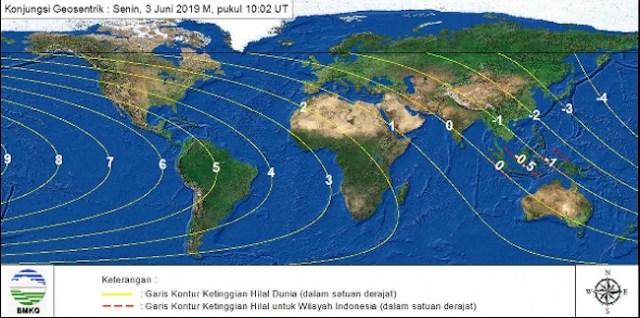 Gambar 4. peta tinggi Bulan di seluruh dunia pada 3 Juni 2019 TU waktu maghrib setempat berdasarkan sistem hisab kontemporer. Sumber: BMKG, 2019.