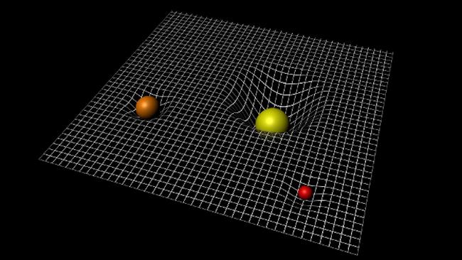 Kelengkungan ruang-waktu akibat benda masif. Kredit: ESA–C.Carreau