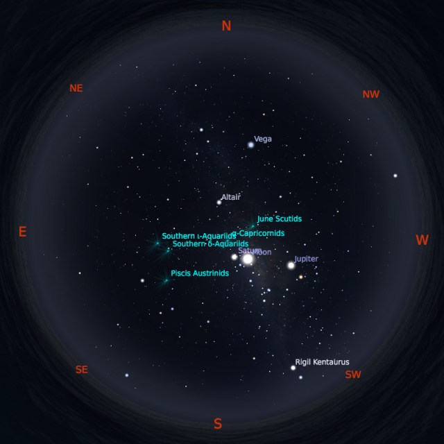 Peta Bintang 15 Juli 2019 pukul 23:59 WIB. Kredit: Stellarium