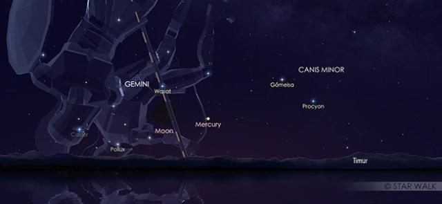 Konjungsi Bulan dan Merkurius pada 31 Juli pukul 05:30 WIB. Kredit: Star Walk