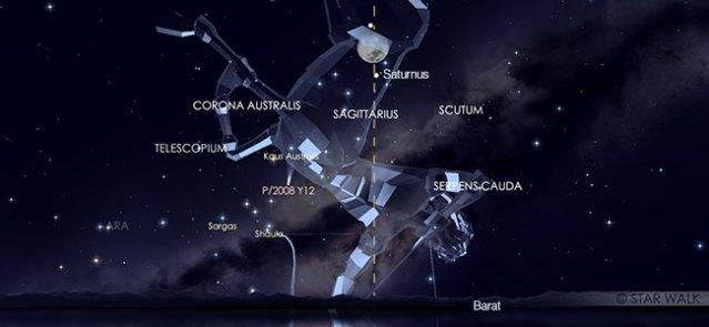 Konjungsi Bulan dan Saturnus pada tanggal 13 Agustus pukul 01:30 WIB. Kredit: Star Walk