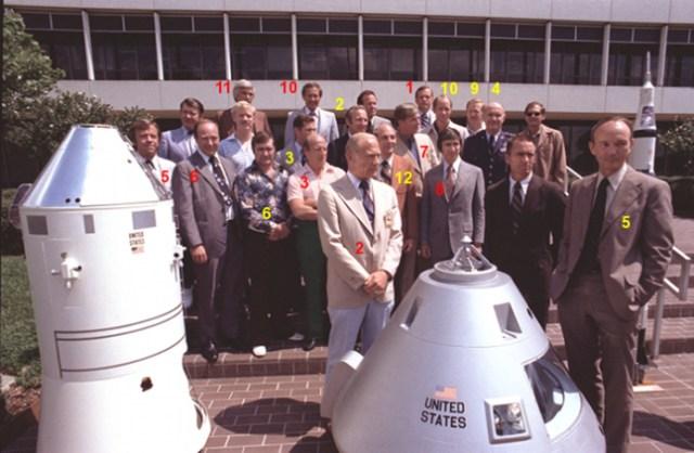 Gambar 4. Sebagian besar astronot Program Apollo dalam kesempatan reuni yang langka di NASA Johnson Space Center, Houston (Amerika Serikat) pada 21 Agustus 1978 TU menjelang paparan program antariksa ulang-alik Amerika Serikat. Astronot-astronot yang mendarat di Bulan dilabeli dengan angka merah, sementara yang mengorbit Bulan ditandai dengan angka kuning. Sumber : NASA, 1978.