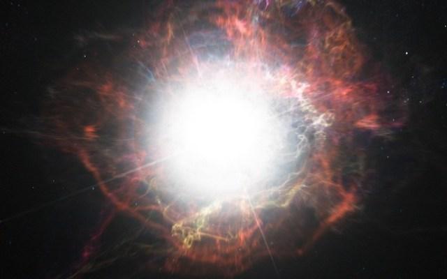Gambar ini menggambarkan pembentukan materi di lingkungan sekitar ledakan supernova. Kredit: ESO / M. Kornmesser
