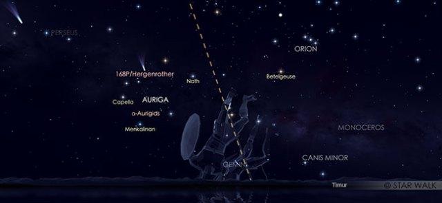 Hujan meteor Aurigid pada 2 September 2019 pukul 03:00 WIB. Kredit: Star Walk