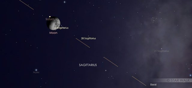 Konjungsi Bulan dan Saturnus pada 8 September pukul 20.00 WIB. Kredit: Star Walk
