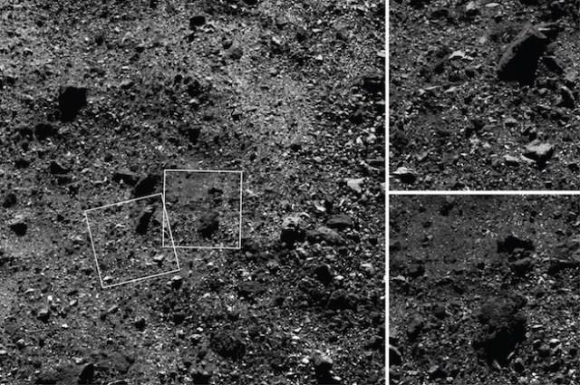 Foto permukaan seluas 180 meter di belahan utara Bennu yang dipotret OSIRIS-REx dari ketinggian 1,8 meter. Foto kiri merupakan area seluas 180 meter yang dipotret dengan MAPCAM. Dua citra lainnya kanan atas dan bawah, masing-masing dipotret dengan kamera resolusi tinggi PolyCam yang memperlihatkan detil area yang dipotret oleh MapCam. Tampak detil dari bongkahan batu 15 meter (kanan atas), dan kolam regolit (kerikil) di foto kanan bawah. Kredit: NASA