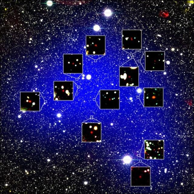 Cikal bakal gugus galaksi kuno yang terdiri dari 12 galaksi. Kredit: NAOJ/Harikane et al.