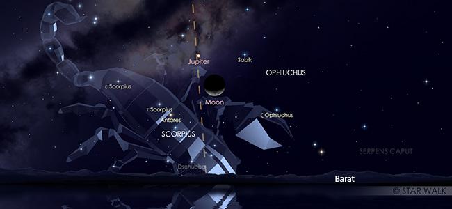 Konjungsi Bulan dan Jupiter pada tanggal 3 Oktober 2019 pukul 21:00 WIB. Kredit: Star Walk