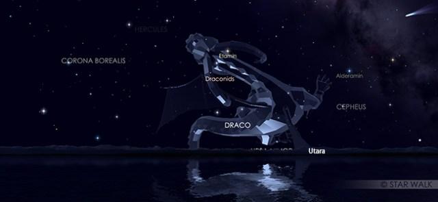 Hujan meteor Draconid di rasi Draco pada tanggal 9 Oktober 2019 pukul 18:30 WIB di arah utara. Kredit Star Walk