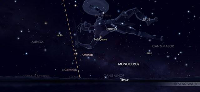Hujan meteor Orionid yang muncul muncul dari rasi bintang Orion pada 21 Oktober 2019 pukul 23:30 WIB. Kredit Star Walk