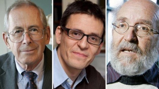 2019 pemenang Hadiah Nobel dalam bidang fisika. Ki-ka: James Peebles, Didier Queloz, dan Michel Mayor. Kredit: ESA