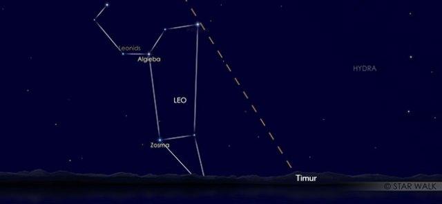 Puncak hujan meteor Leonid, 17 November pukul 02:00 WIB. Kredit: Star Walk