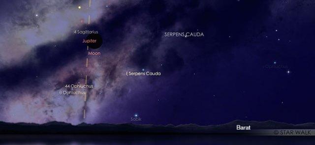 Pasangan Bulan dan Jupiter di langit senja 28 November 2019 pukul 18:30 WIB. Kredit: Star Walk