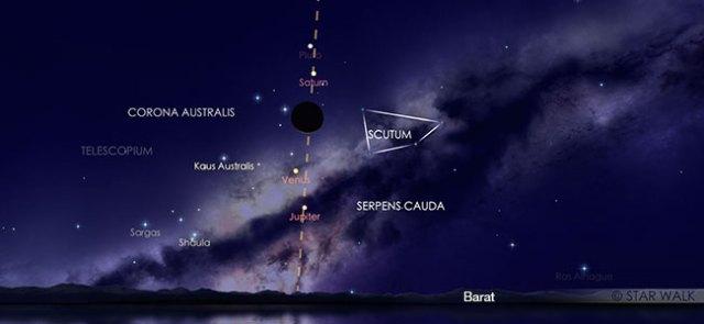Nikmati segarisnya Bulan dengan Saturnus, Venus, Jupiter di langit senja 29 November. Ini adalah simulasi peristiwa tersebut pada pukul 18:30 WIB. Kredit: Star Walk