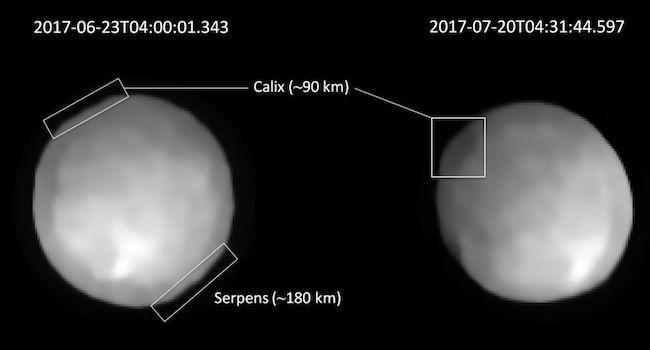 Kawah di permukaan Hygiea, Kawah Serpens (180km) dan Kawah Calix (90km). Kredit: Vernazza et al.