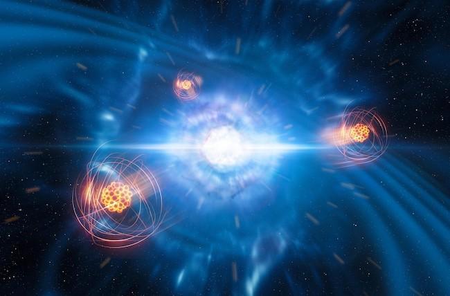 Ilustrasi pembentukan stronsium saat tabrakan bintang neutron. Kredit: ESO/L. Calçada/M. Kornmesser