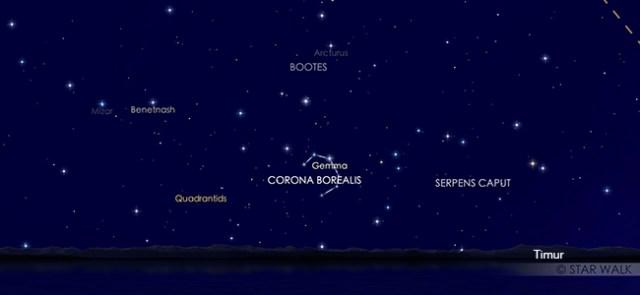 Hujan meteor Quadrantid saat puncak tanggal 4 Januari 2020 pukul 04:00 WIB. Kredit: Star Walk 2