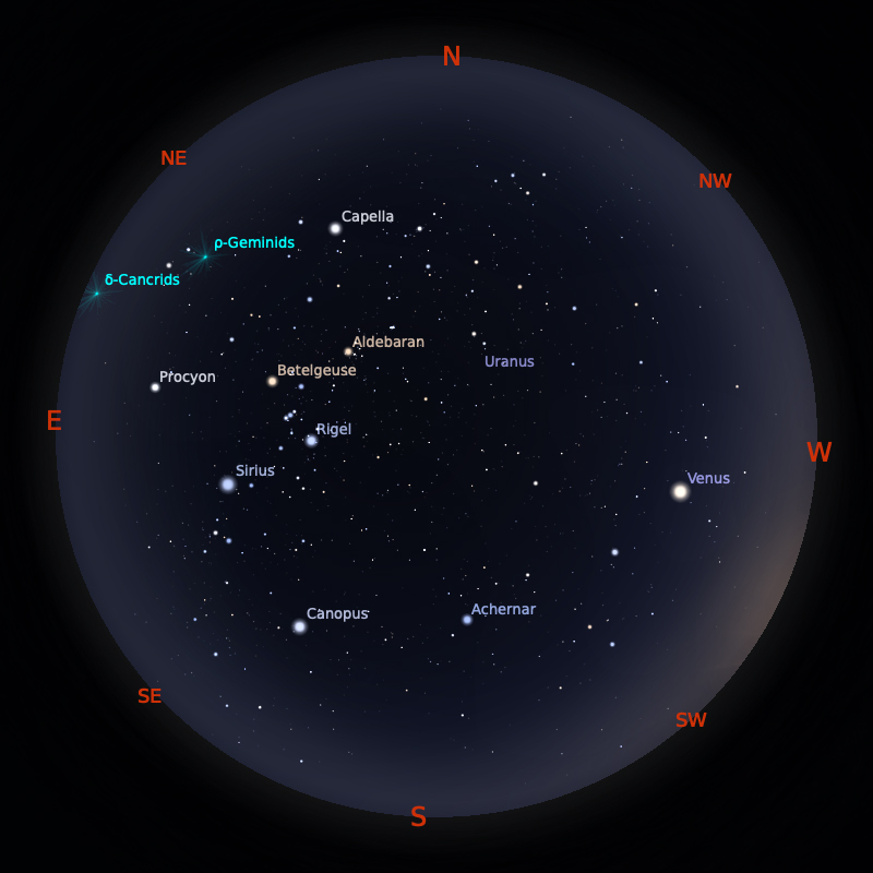 Peta Bintang 15 Januari 2020 pukul 19:00 WIB. Kredit: Stellarium