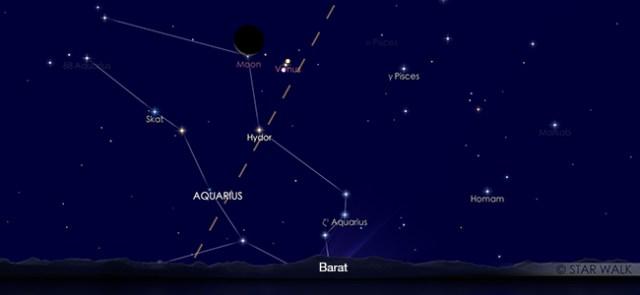 Pasangan Bulan dan Venus setelah Matahari terbenam pada tanggal 28 Januari pukul 19:30 WIB. Kredit: Star Walk