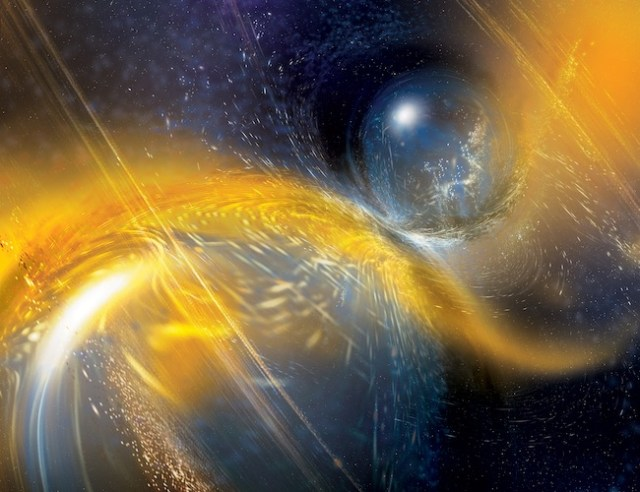 Ilustrasi tabrakan bintang neutron menghasilkan gelombang gravitasi yang terdeteksi oleh kolaborasi LIGO-VIRGO. Kredit: National Science Foundation / LIGO / Sonoma State University / A. Simonnet.