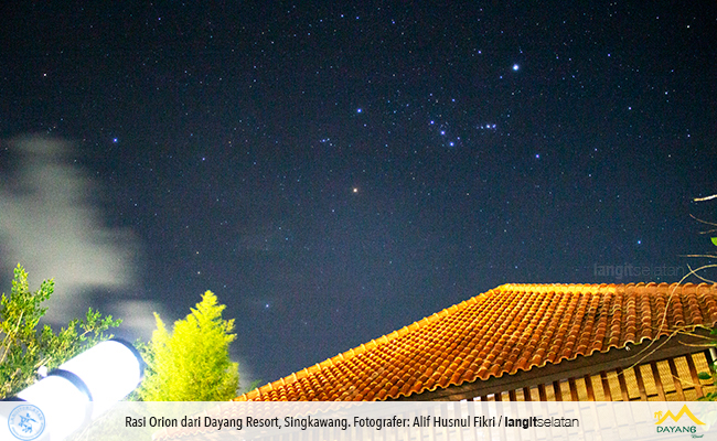 Sabuk Orion dari Dayang Resort. Dipotret saat Star Party. Kredit: Alif Husnul Fikri