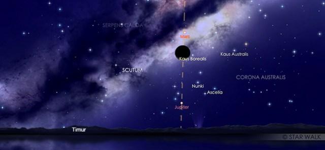 Pasangan Bulan sabit dan Mars pada tanggal 19 Februari pukul 03:30 WIB. Kredit: Star Walk