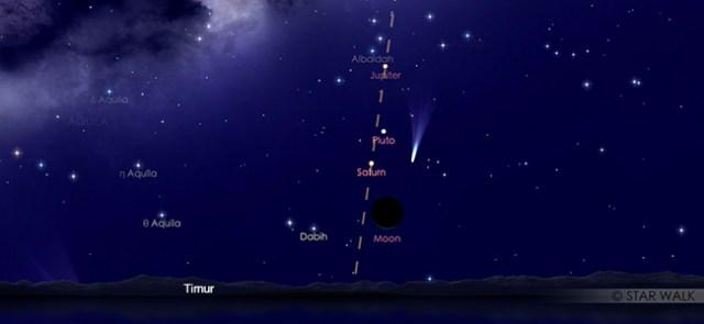 Pasangan Bulan sabit dan Saturnus pada tanggal 21 Februari pukul 04:30 WIB. Kredit: Star Walk