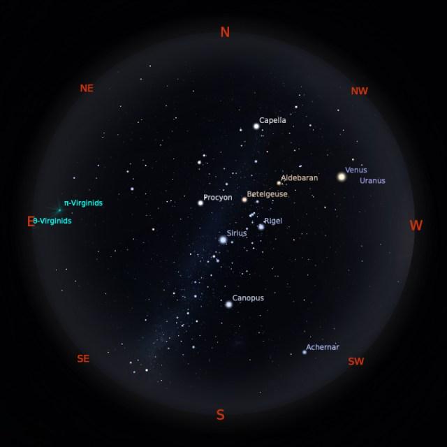 Peta Bintang 15 Maret 2020 pukul 19:00 WIB. Kredit: Stellarium
