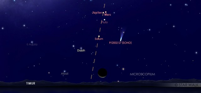 Mars dan Jupiter yang tampak dekat di langit malam pada tanggal 20 Maret 2020 pukul 03:00 WIB dini hari. Kredit: Star Walk.