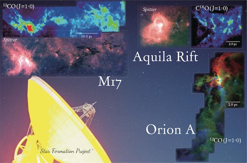 Foto awan Orion A, Aquila Rift, dan M17, yang dipotret dengan Teleskop Radio Nobeyama. Kredit: NAOJ.