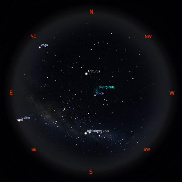 Peta Bintang 15 April 2020 pukul 23:59 WIB. Kredit: Stellarium
