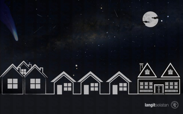 Benda yang muncul di langit malam. Bulan, Meteor, Komet, Bimasakti. Kredit: Tenggara