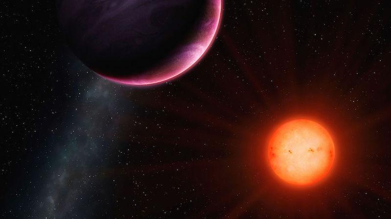Ilustrasi exoplanet mengitari bintang katai merah. Kredit: Universitas Warwick/Mark Garlick