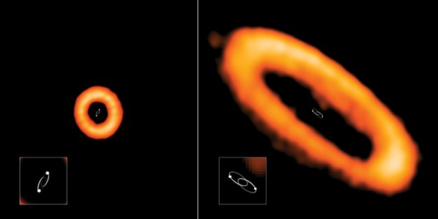 Cincin protoplanet yang tidak sejajar (kiri) dan yang sejajar (kanan) dengan bidang orbit bintang. Kredit: Credit: ALMA (ESO/NAOJ/NRAO), I. Czekala and G. Kennedy; NRAO/AUI/NSF, S. Dagnello