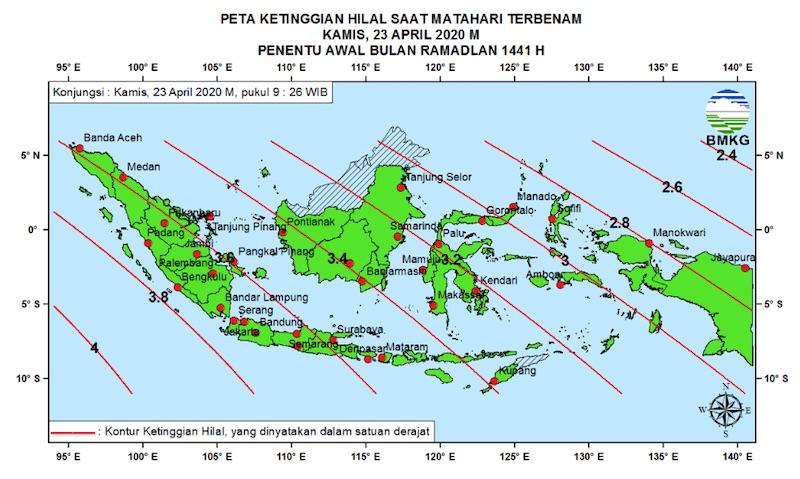 Peta Ketinggian Hilal penentu awal Ramadan 1441 H di Indonesia pada Kamis, 23 April 2020.