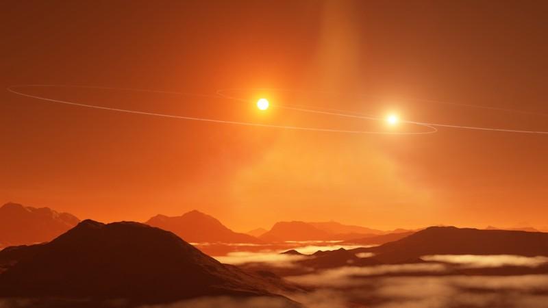 Pemandangan dari planet yang ada di bintang ganda. Kredit:NRAO/AUI/NSF, S. Dagnello