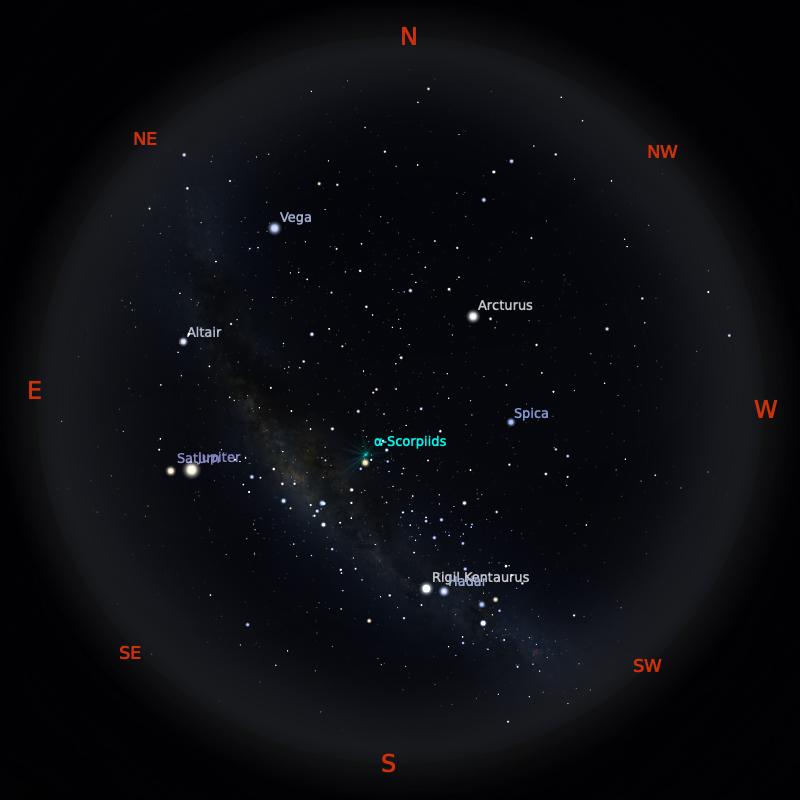 Peta Bintang 15 Mei 2020 pukul 23:59 WIB. Kredit: Stellarium