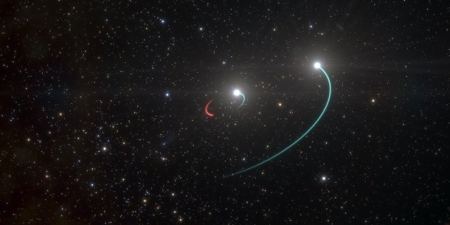 Sistem bertiga HR 6819 yang terdiri dari dua bintang (warna biru) dan sebuah lubang hitam (warna merah). Kredit: ESO/L. Calçada