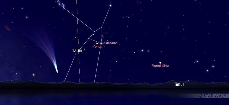 Pasangan Venus dan Aldebaran pada tanggal 12 Juli pukul 03.30 WIB di ufuk timur. Kredit: Star Walk