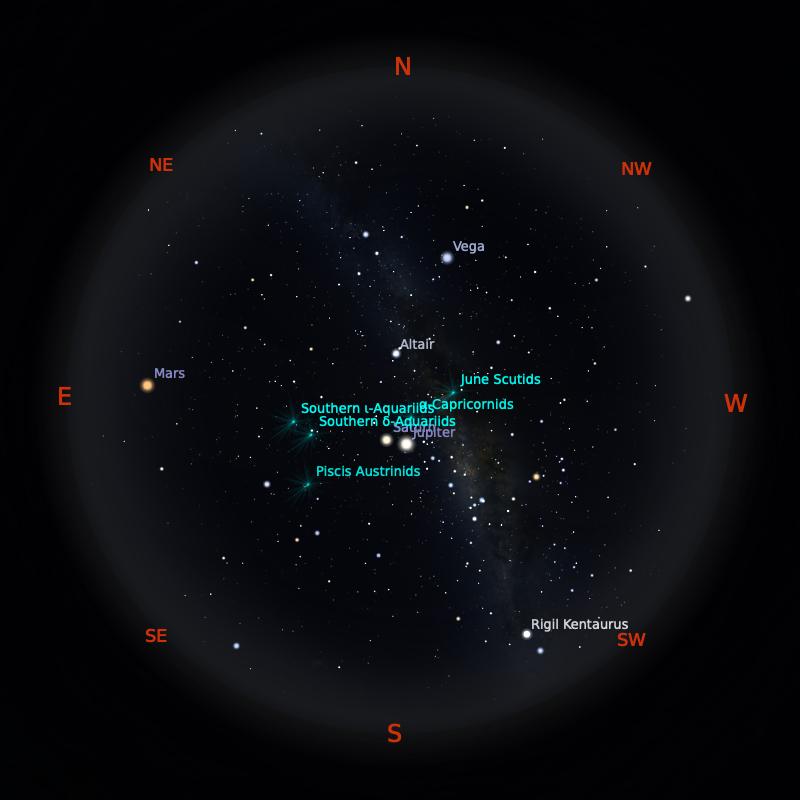 Peta Bintang 15 Juli 2020 pukul 23:59 WIB. Kredit: Stellarium