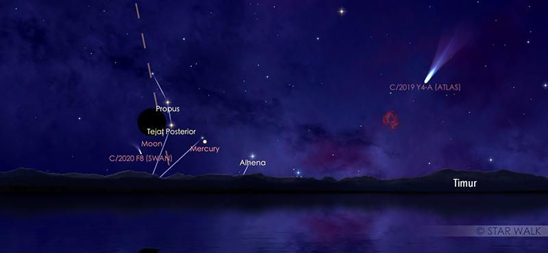 Pasangan Bulan dan Merkurius tanggal 19 Juli 2020 pukul 05:00 WIB. Kredit: StarWalk