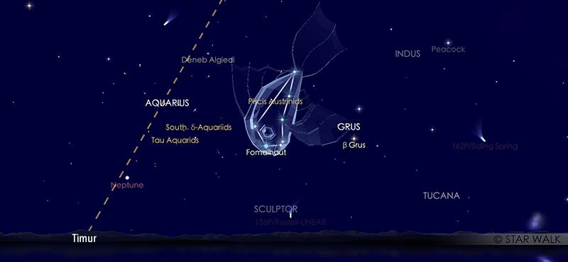 Hujan meteor Piscis Austrinids di Rasi  Piscis Austrinus 28 Juli pukul 21:30 WIB. Kredit: Star Walk