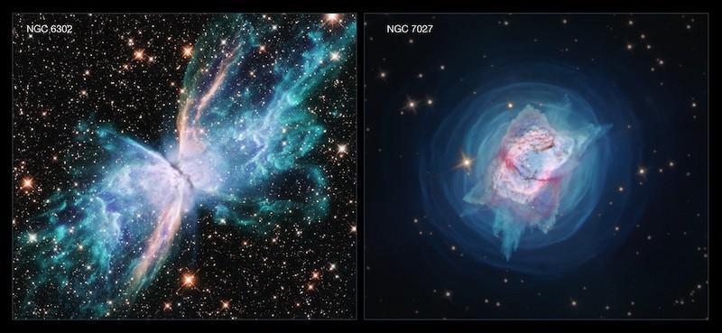 NGC 6302 atau Nebula Kupu Kupu dan NGC 7027 yang mirip kepik. Kredit: NASA, ESA, and J. Kastner (RIT)