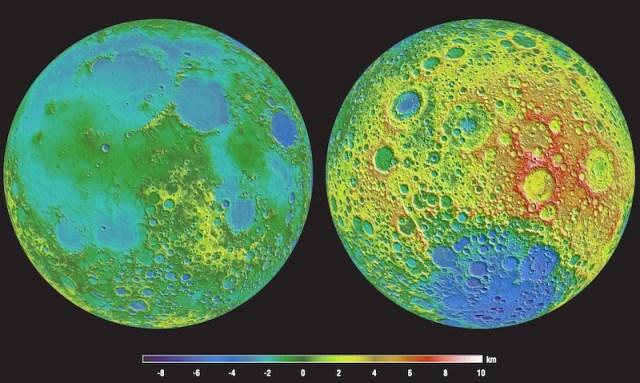 Peta topografi Bulan yang dipotret Lunar Reconnaissance Orbiter. Kredit: NASA