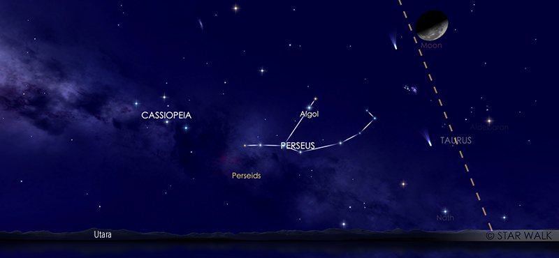 Hujan meteor Perseid 12 Agustus pukul 02:30 WIB. Kredit: Star Wlak