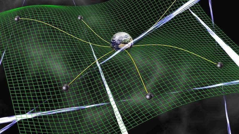 Ilustrasi gelombang gravitasi yang melengkungkan ruang waktu. Kredit: David Champion