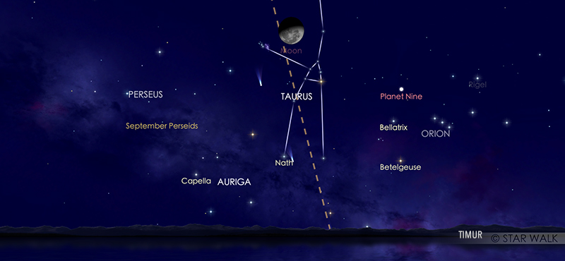 Hujan meteor Epsilon Perseid pada tanggal 9 September 2020. Kredit: Star Walk